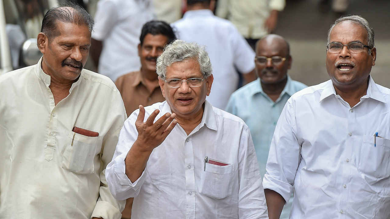 General Secretary Sitaram Yechury after visiting DMK chief M Karunanidhi, who is being treated for fever due to urinary tract infection, at a private hospital in Chennai. (PTI)