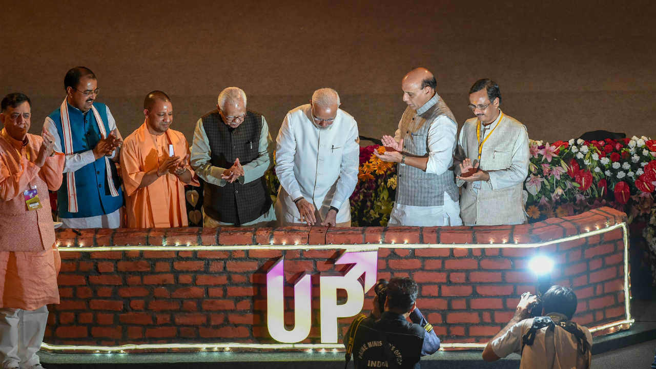 Prime Minister Narendra Modi with Union Home Minster Rajnath Singh, UP Governor Ram Naik, Chief Minister Yogi Adityanath, DY CMs Keshav Prasad Maurya and Dinesh Sharma at a ground breaking ceremony to launch various projects worth 60,000 crore rupees, at Indira Gandhi Pratishthan in Lucknow. (PTI)