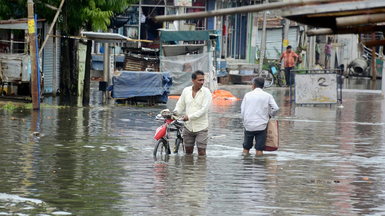 A view of a flooded locality after heavy rains in Agartala, Tripura. (Image: PTI)
