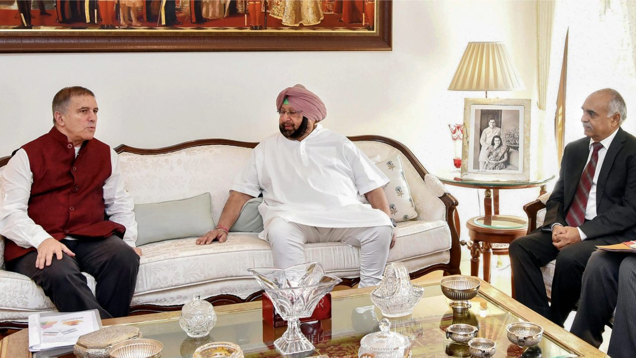 Punjab Chief Minister Amarinder Singh during a meeting with Israel's ambassador to India Daniel Carmon, in Chandigarh. (Image: PTI)
