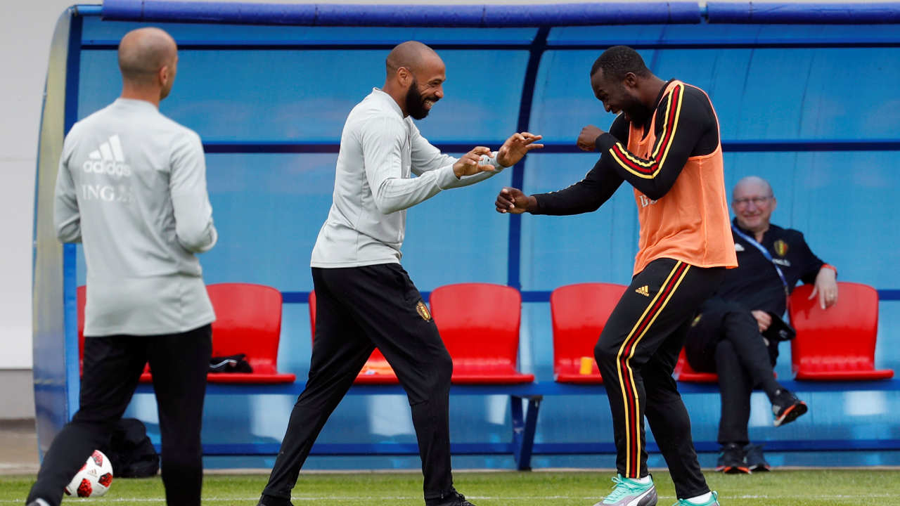 Belgium assistant coach Thierry Henry and Romelu Lukaku during training at the Belgium Training Camp at Dedovsk, Russia (REUTERS)