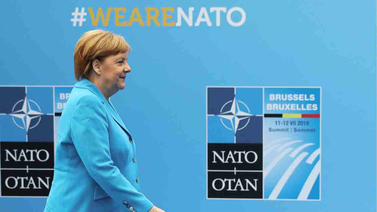 German Chancellor Angela Merkel arrives for the second day of a NATO summit in Brussels, Belgium. (Reuters)