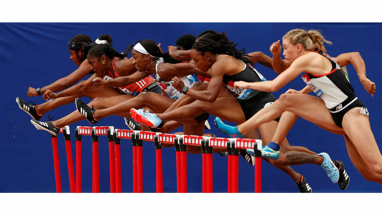 A general view of the Women's 100m Hurdles final action in the Diamond League of the London Anniversary Games at the London Stadium, London, Britain (REUTERS)