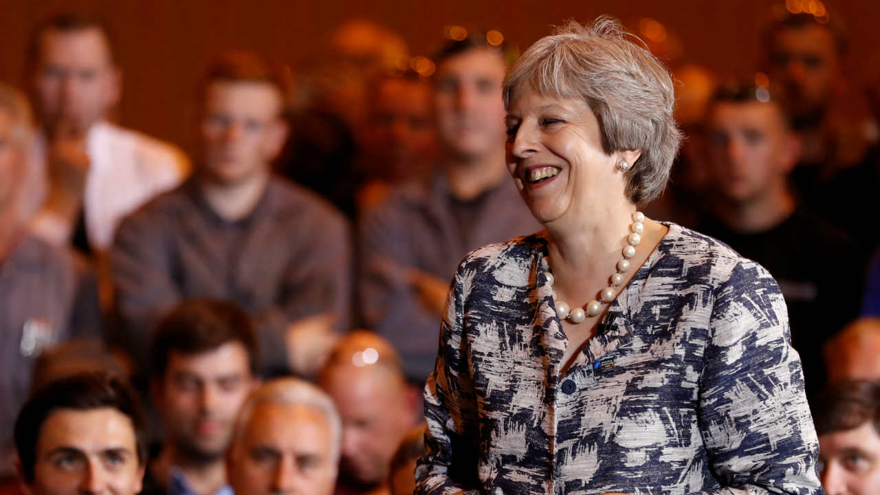 Britain's Prime Minister Theresa May answers questions during a session with employees at the Armstrong Works engineering facility, in Newcastle upon Tyne, Britain. (REUTERS)