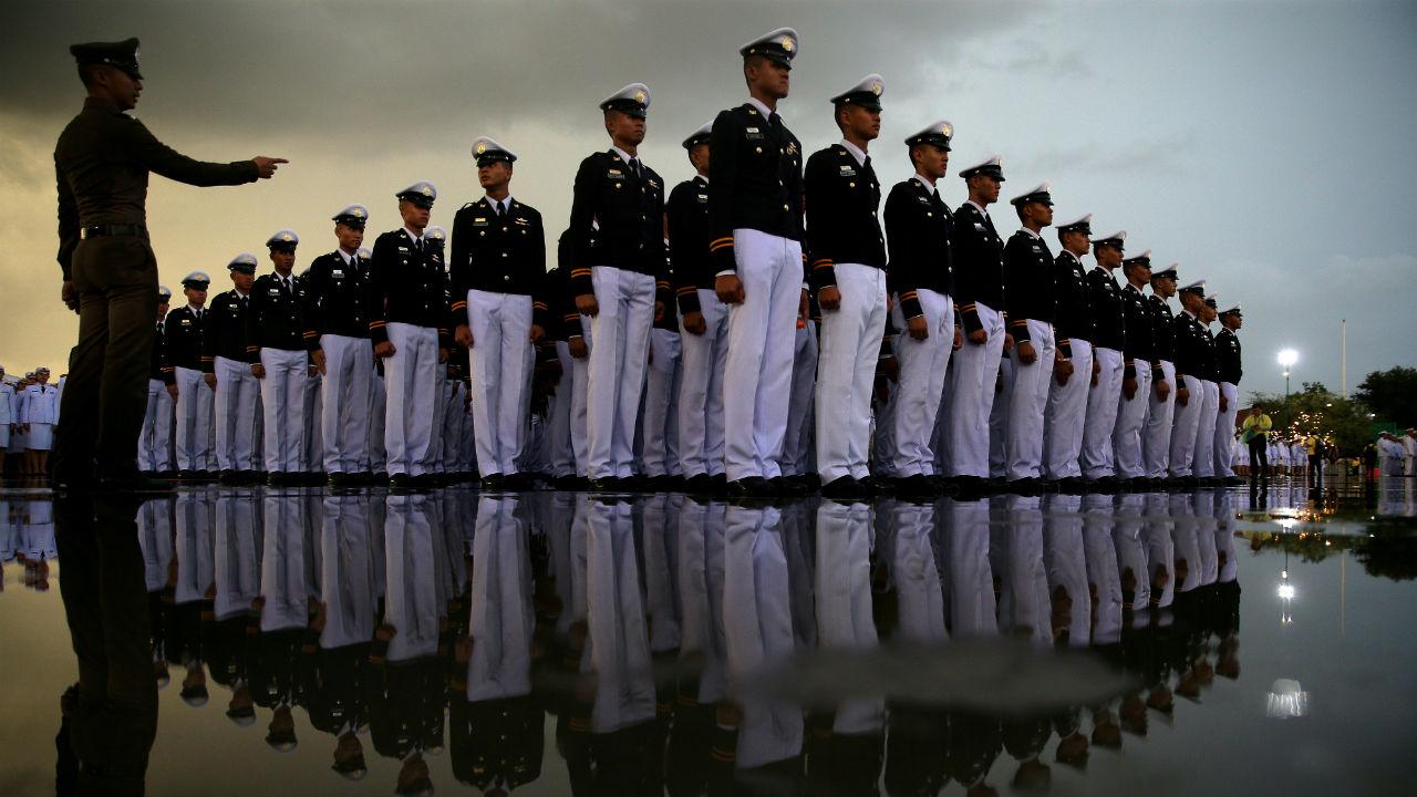 Military cadets gather outside the Grand Palace to celebrate the 66th birthday of Thai King Maha Vajiralongkorn in Bangkok, Thailand. (Image: Reuters)