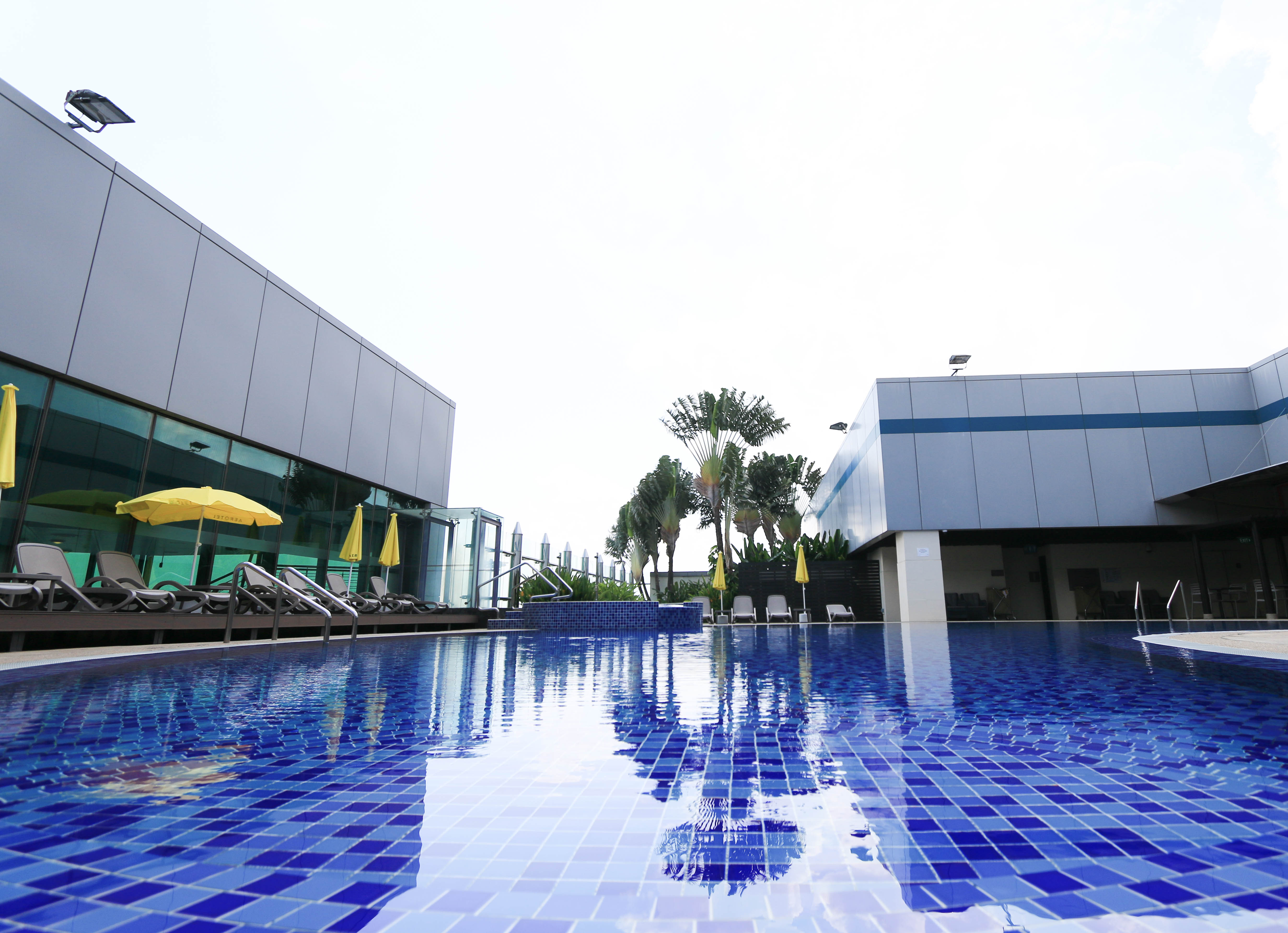Rooftop swimming pool For travellers who want to relax and refresh themselves, what better way than swimming and letting yourself unwind under a stream of hot water in a Jacuzzi. Located at Terminal 1, Changi's rooftop swimming pool comes with a poolside bar and shower facilities. Access to the pool is complimentary for guests of the transit hotels.