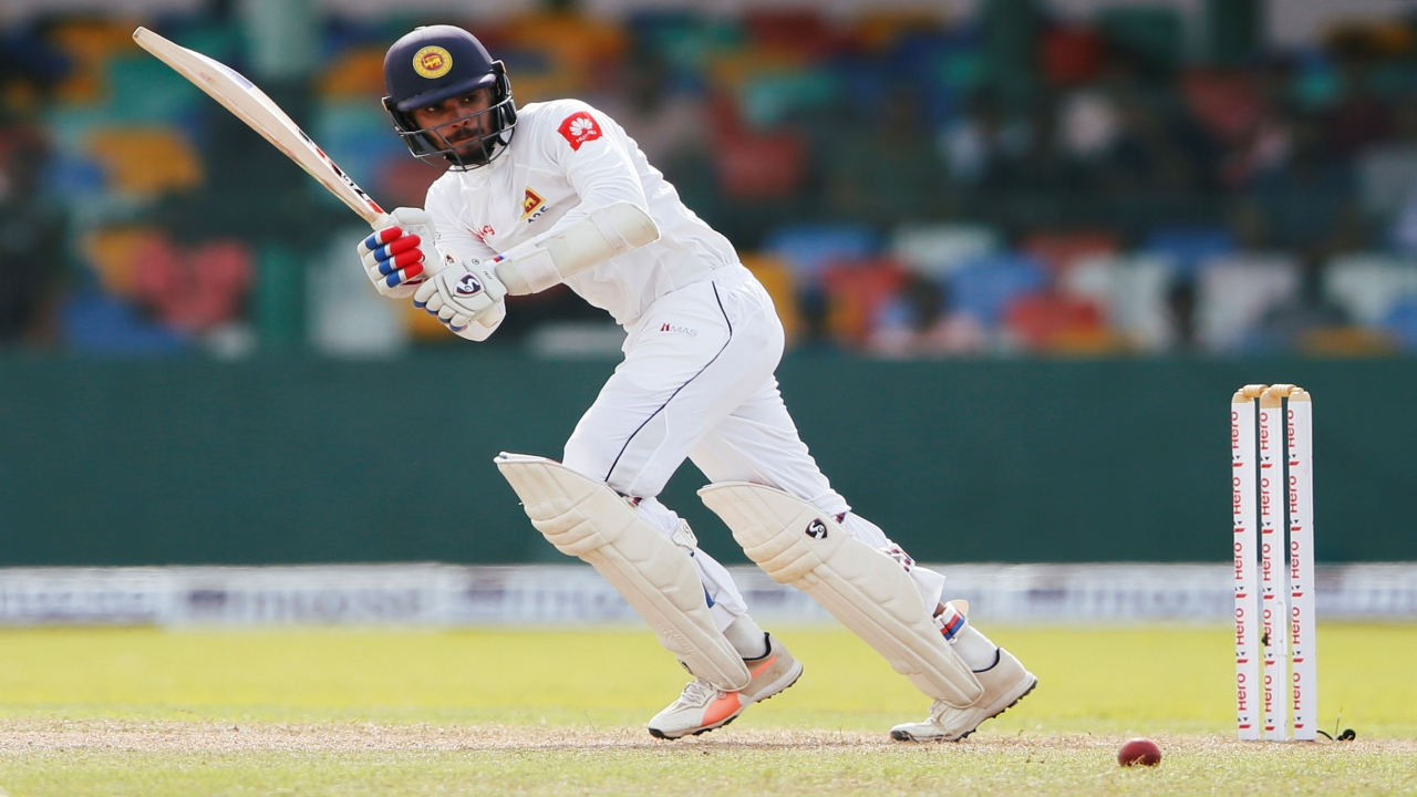 SL's Dhananjaya de Silva plays a shot during 2nd test match between Sri Lanka vs South Africa which is underway. (Reuters)