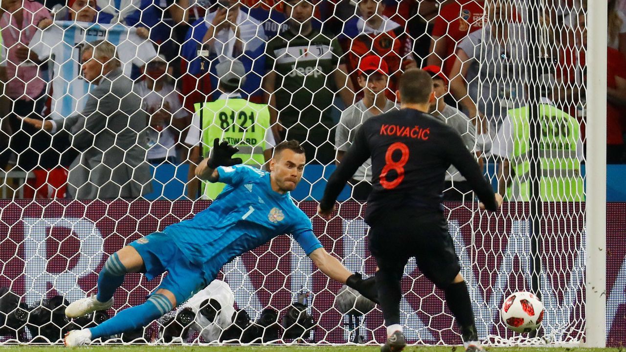 Saved | Russia's Igor Akinfeev did brilliantly to save Mateo Kovacic's penalty and keep his team in the game. (Image – Reuters)