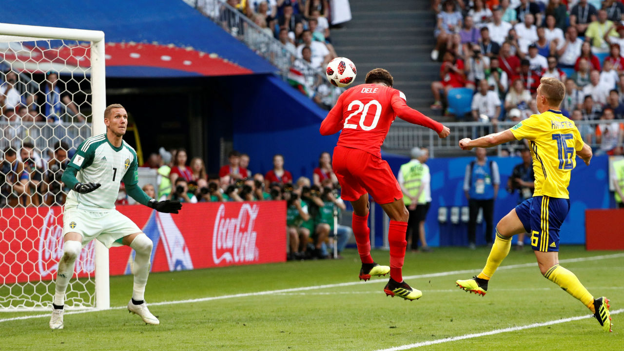 England 2 – 0 Sweden | England's Dele Alli made an intelligent run at the back post to head home Jesse Lingard's inch-perfect cross in the 58th minute. (Image – Reuters)