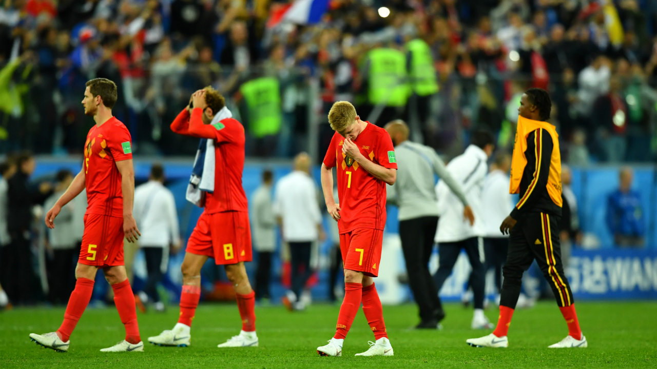 Belgium's Kevin De Bruyne looks dejected after the match.