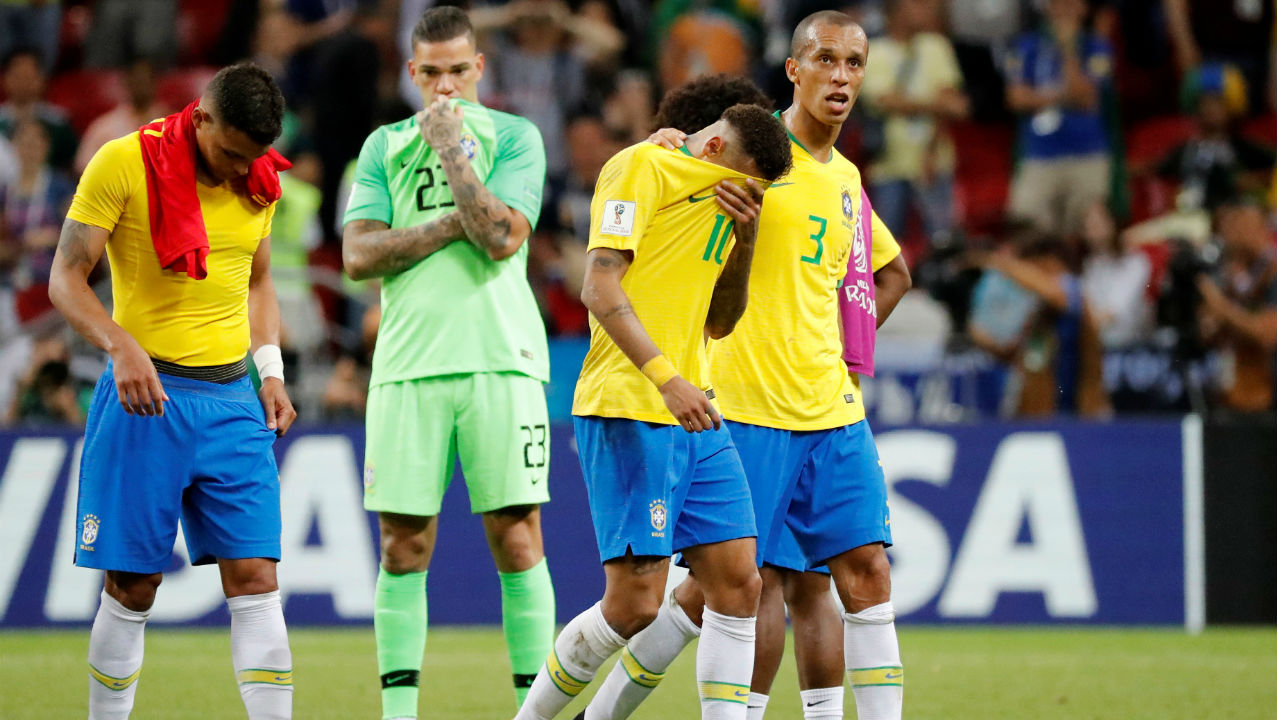 Brazil's Neymar, Miranda and team mates look dejected at the end of the match. (Image – Reuters)