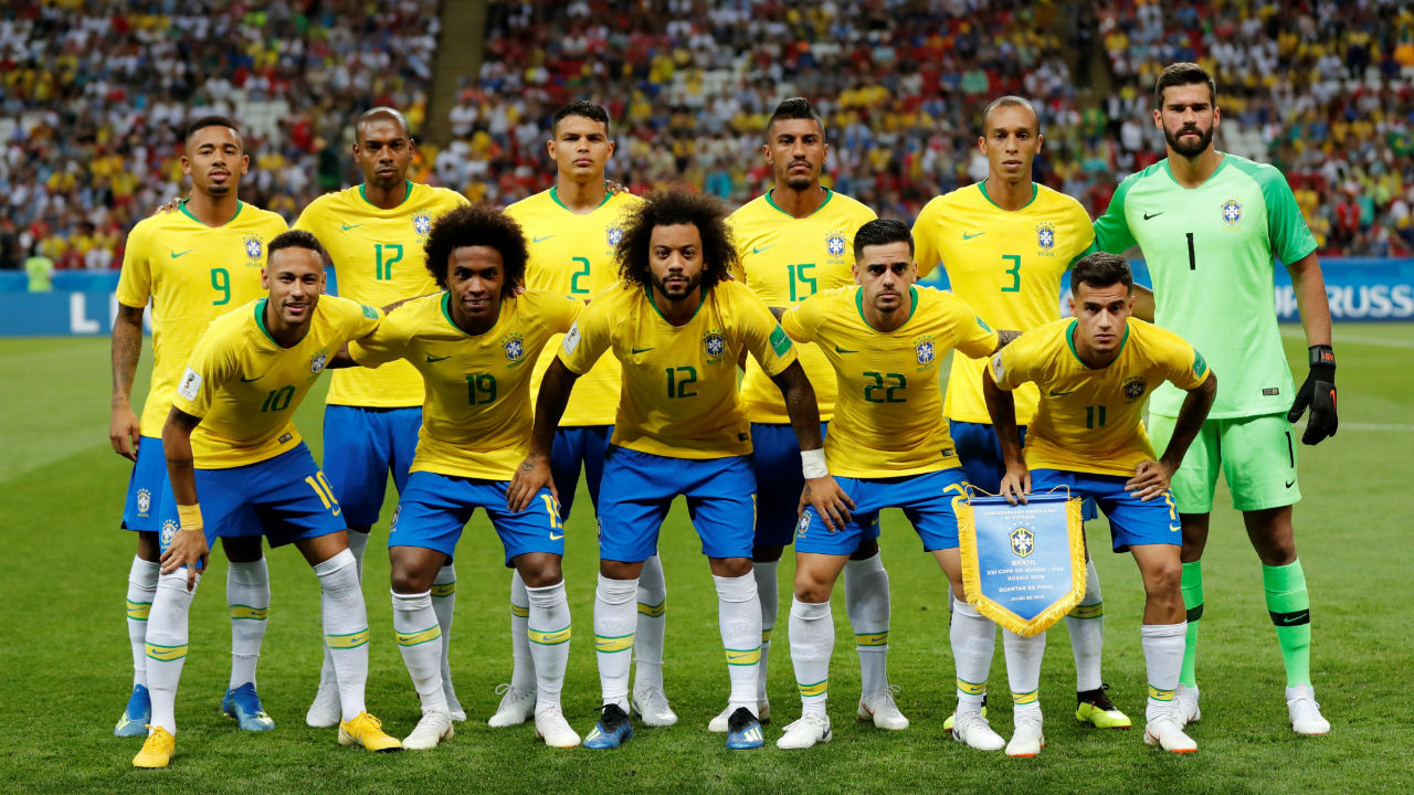 Brazil starting XI. Brazil made two changes to their starting line-up from the last-16 match with Marcela making a return from injury and Fernandinho replacing Casemiro who was suspended. (Image – Reuters)