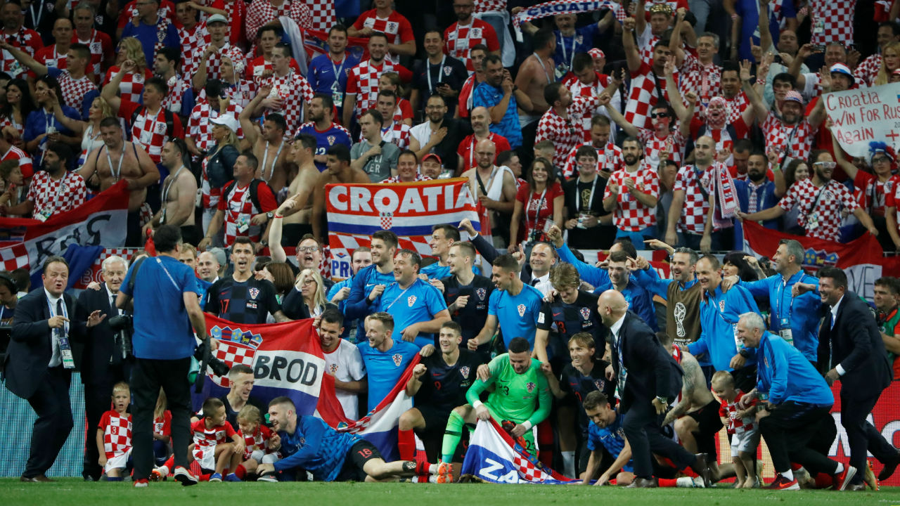 Croatia players celebrate in front of their fans after the match. Croatia will now face France in the World Cup Final on Sunday. (Image - Reuters)