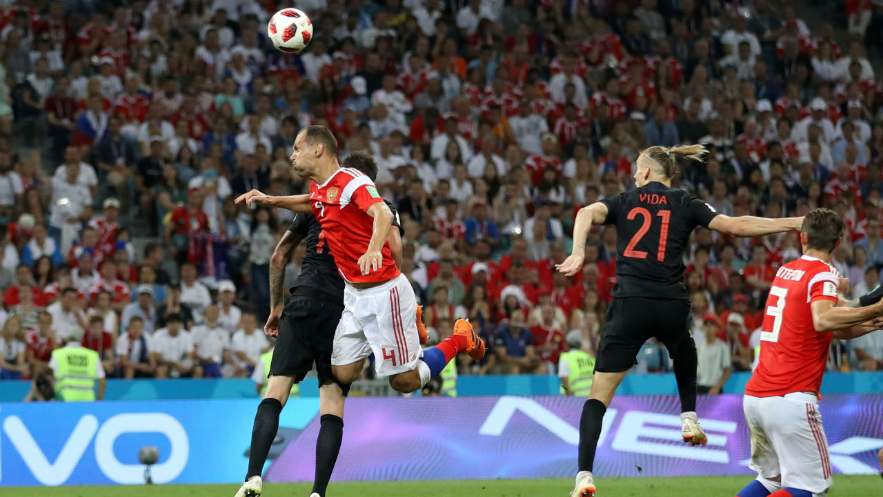 Russia 1-2 Croatia | Croatia got their second goal of the night when Domagoj Vida headed in Luka Modric's 100th minute corner in the first half of extra time. (Image – Reuters)