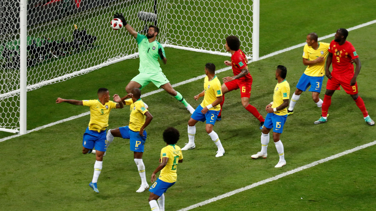 Own Goal! Jesus and Fernandinho both went up to clear the same ball as Chadli whipped in a corner from the left in the 13th minute. The ball deflected off Fernandinho's arm and went past Alisson into the goal. (Image – Reuters)