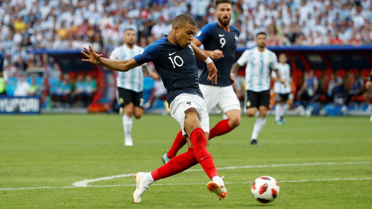 France's Kylian Mbappe scores their fourth goal, latching onto Olivier Giroud's through ball and hitting it first time with his right foot. (Image: Reuters)