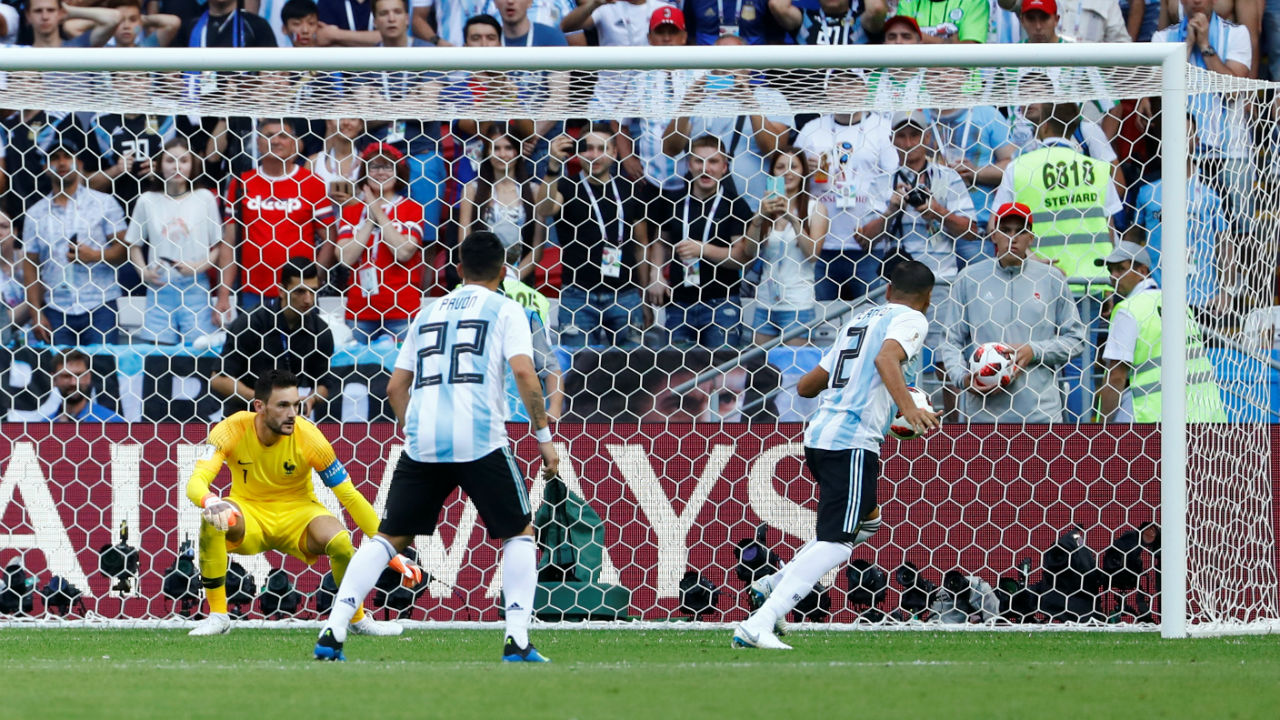 Argentina's Gabriel Mercado scores their second goal when he diverted Lionel Messi's shot into the back of the net. (Image: Reuters)