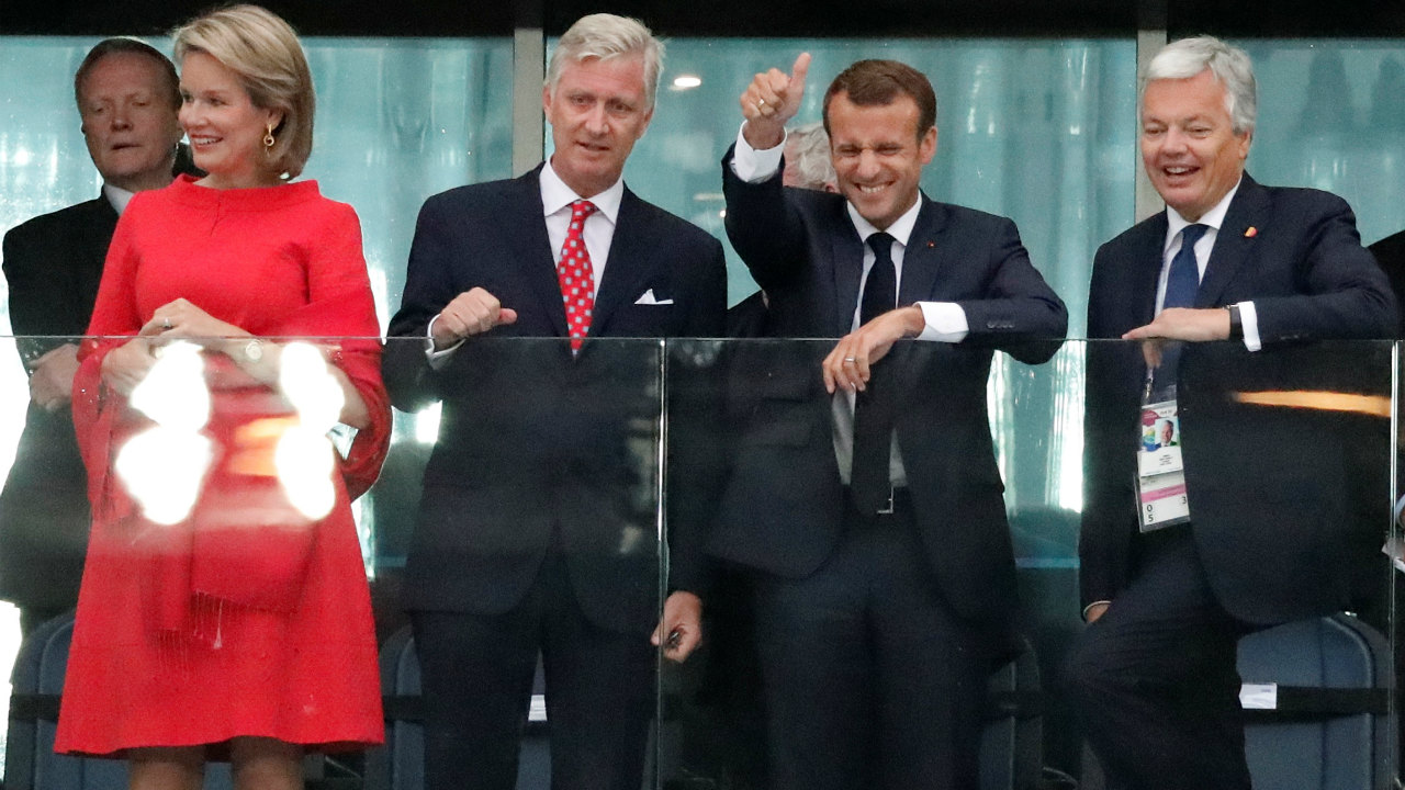 Queen Mathilde of Belgium, King Philippe of Belgium, President of France Emmanuel Macron and Belgium Foreign Minister Didier Reynders were all in attendance to witness the semi-final clash.