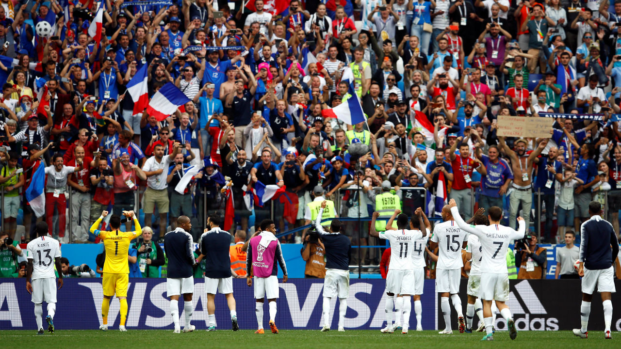 France players celebrate in front of their fans after the match. (Image – Reuters)