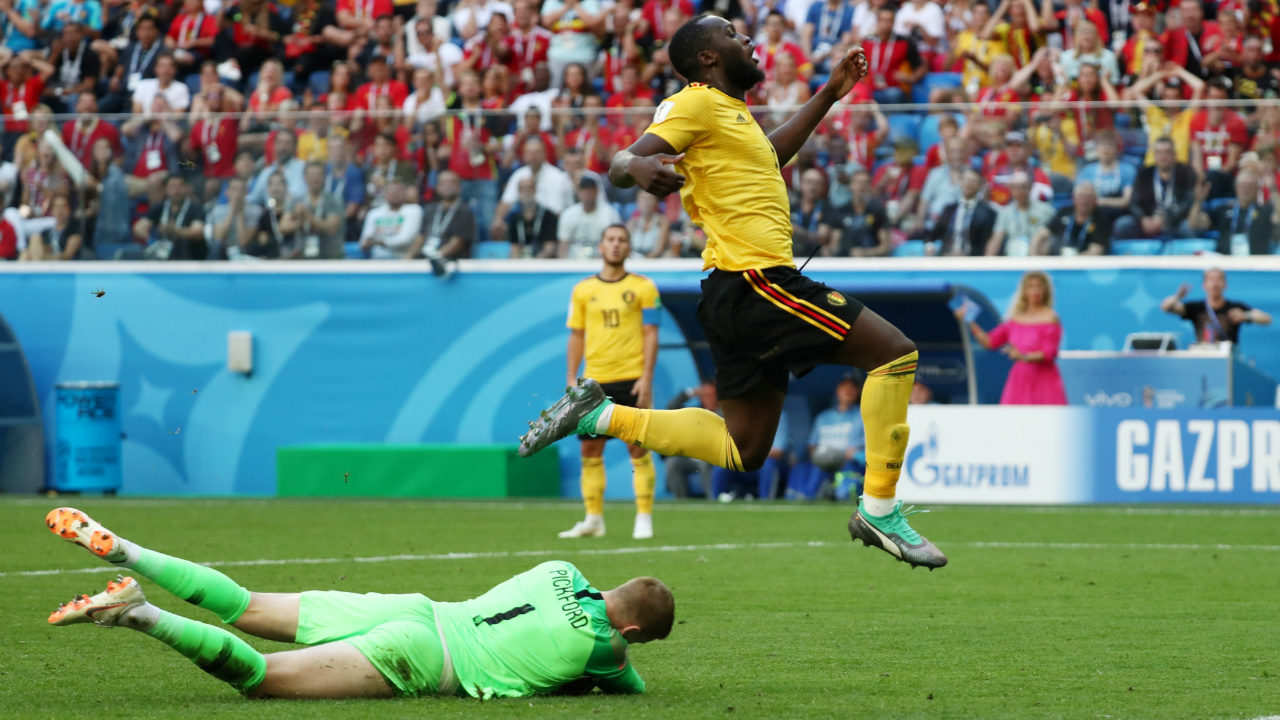 Chance! | Lukaku had a brilliant opportunity to double Belgium's lead when De Bruyne released him through on goal with a perfectly weighted pass. Lukaku's first touch was a bit too heavy and Pickford was quick to smother the danger. (Image – Reuters)