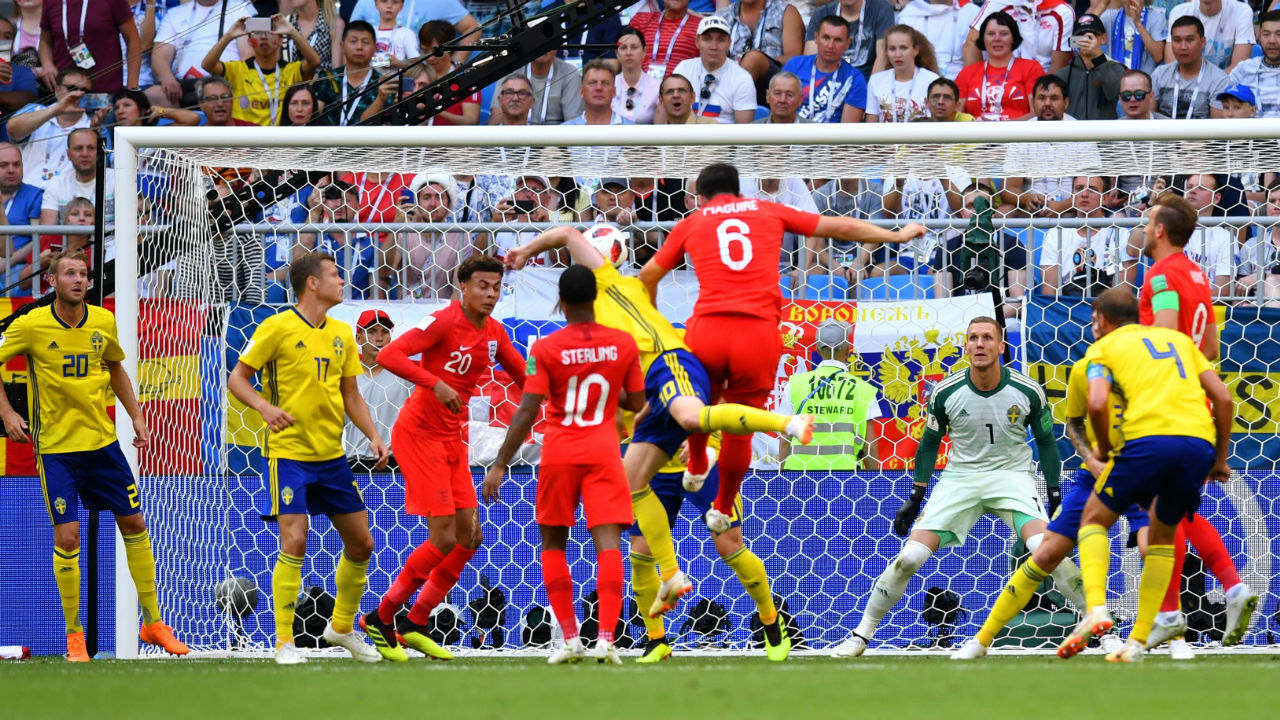 England 1 – 0 Sweden | Harry Maguire rose majestically to power in Ashley Young's corner and score his first international goal in the 30th minute. (Image – Reuters)