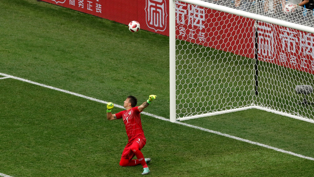 Uruguay's Fernando Muslera fails to keep out an Antoine Griezmann shot in the 61st minute gifting France their second goal. Muslera looked comfortably placed to parry the ball away but it deflected off his gloves and into the net. (Image – Reuters)
