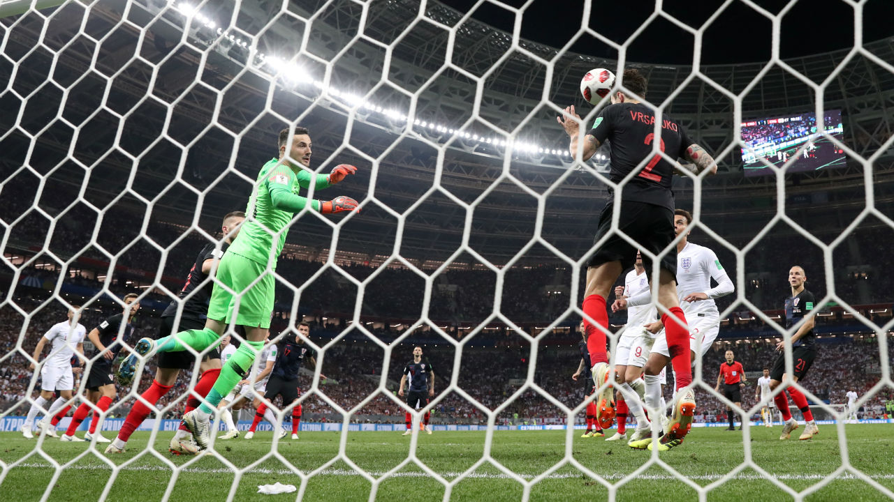 Off the line | Once again England threatened to score from a set piece with John Stones heading Kieran Trippier's corner towards the far corner but Sime Vrsaljko was there to clear the ball off the line. (Image - Reuters)