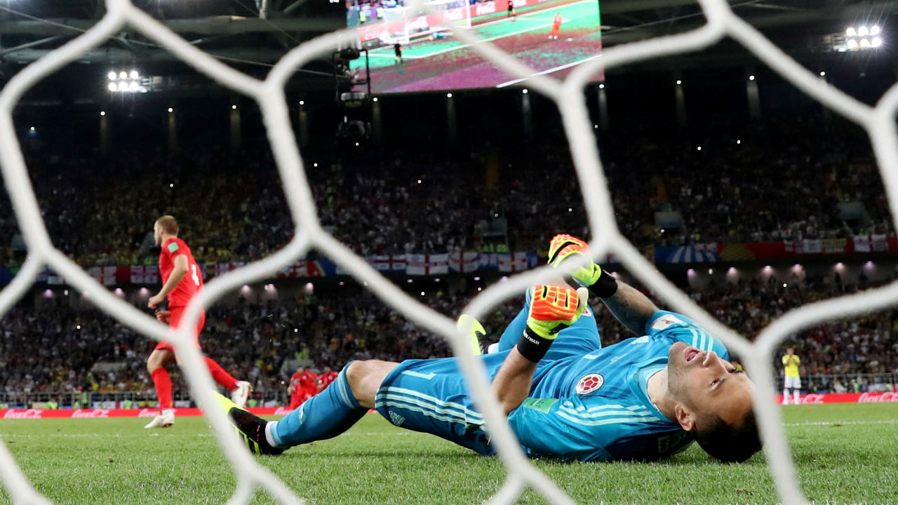 Colombia's David Ospina reacts after England's Eric Dier scores the winning penalty during the shootout. Dier sealed England's first ever win via penalties in the World Cup. (Image – Reuters)