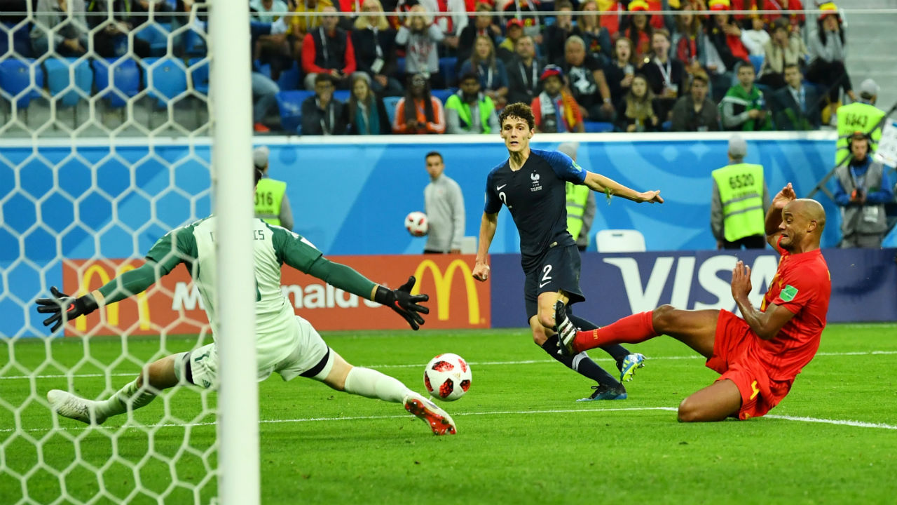 Save!   Kylian Mbappe slipped a clever pass through to Benjamin Pavard, whose shot towards the far post was headed for the back of the net. But Thibaut Courtois reacted sharply, sticking out a leg to divert the ball wide.