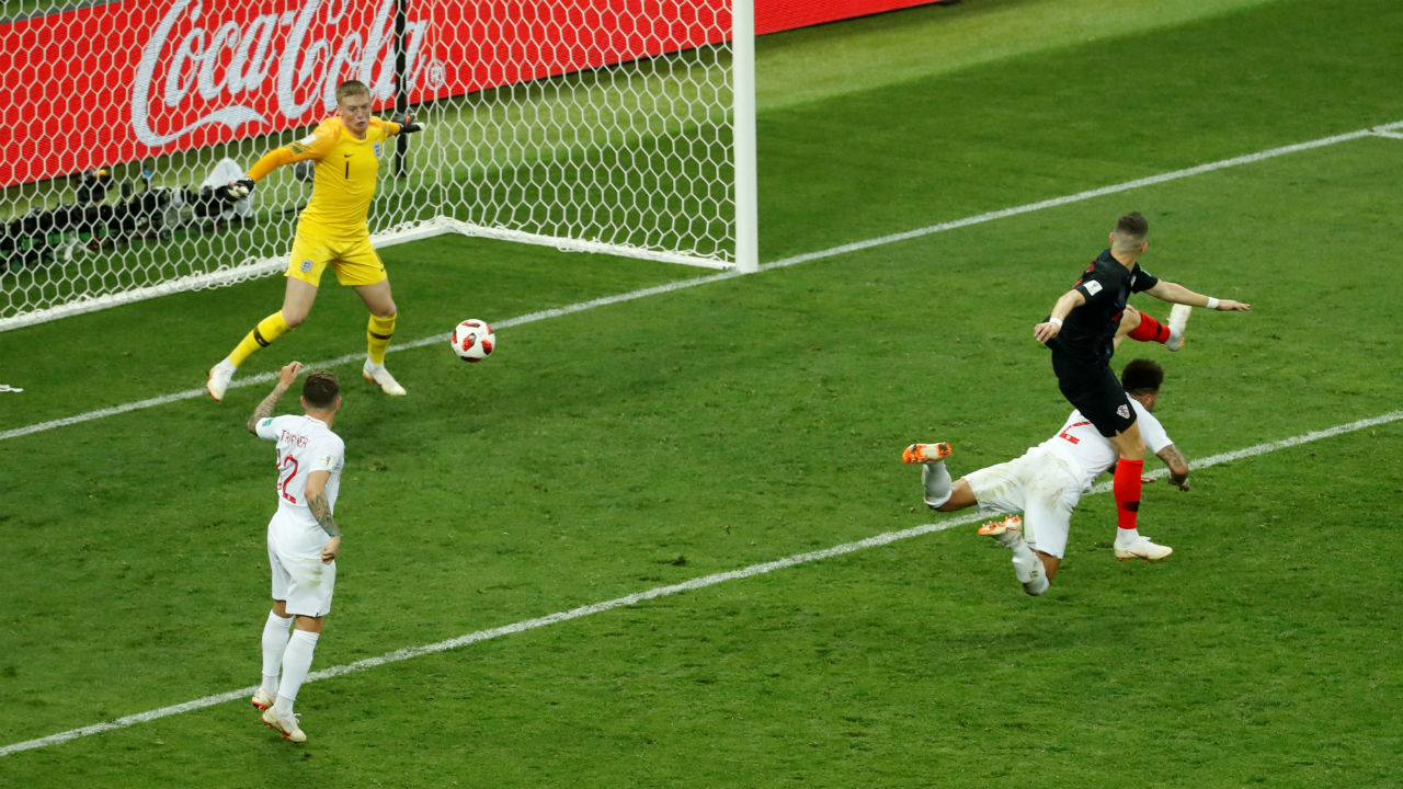Goal! England 1 – 1 Croatia | Croatia won the ball back and launched a quick counter. Sime Vrsaljko crossed the ball inside the area and Ivan Perisic got in front of Kyle Walker to turn the ball into the back of the net. (Image - Reuters)