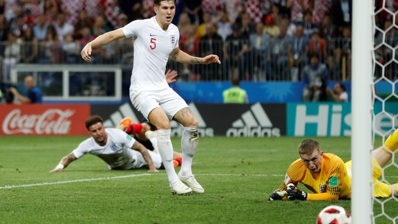 Off the post | Ivan Perisic makes space on the left of the box before firing a low shot past Jordan Pickford which went out off the post. (Image - Reuters)