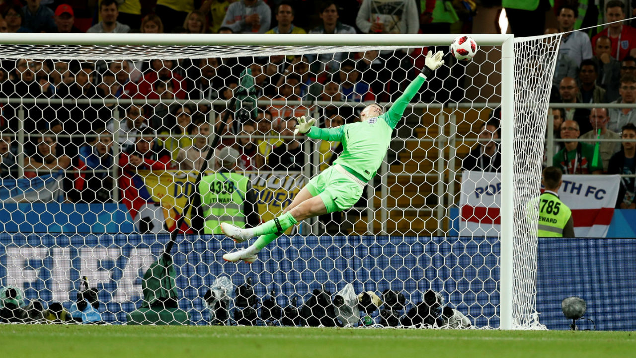 England's Jordan Pickford pulled off an excellent save to deny Uribe in stoppage time. However, it wasn't enough as Colombia would go on to equalise from the resulting corner. (Image – Reuters)