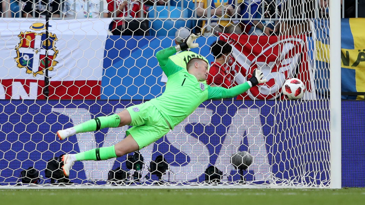 Save | Marcus Berg towered over Ashley Young and connected with a cross from the left which looked destined to find the back of the net before Jordan Pickford pulled off an amazing save to keep the score 1-0. (Image – Reuters)