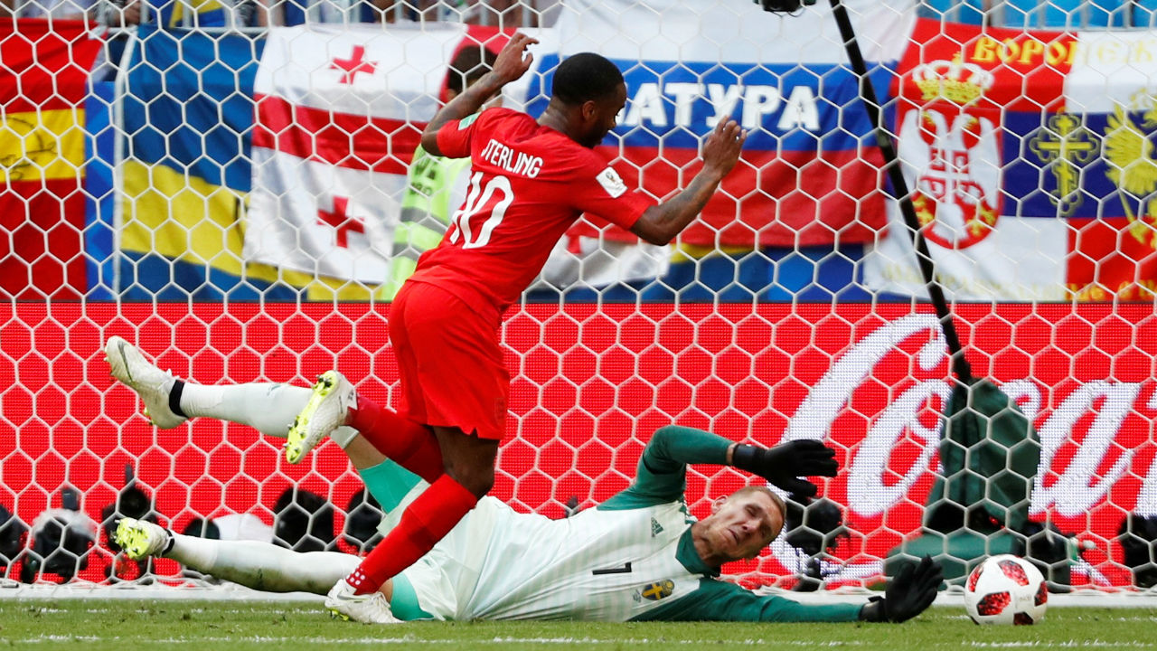 Save | England's Raheem Sterling does brilliantly to control Jordan Henderson's pass from over the top. He had only the keeper to beat but Robin Olsen managed to get down and claw the ball out for a corner. (Image – Reuters)