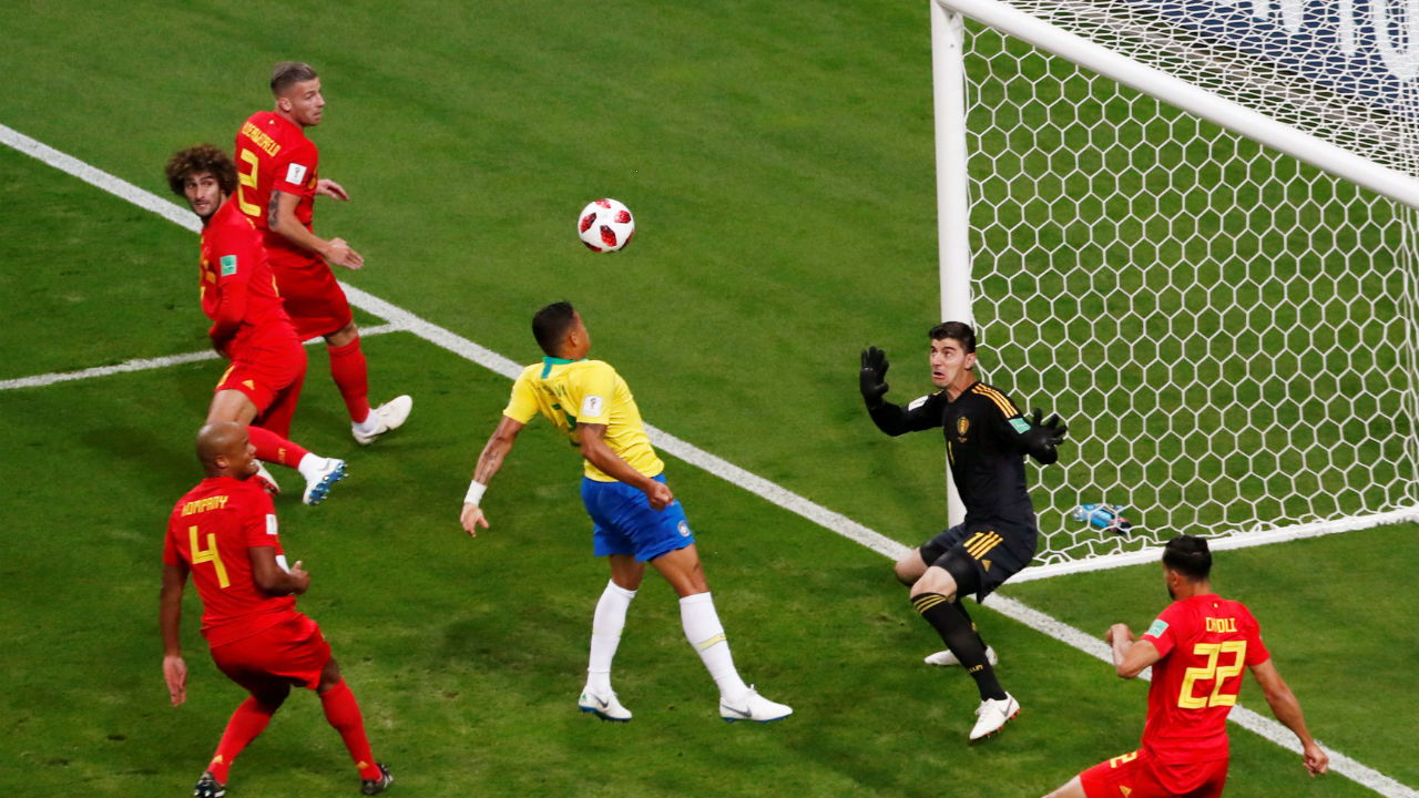 Off the post! Neymar's corner to the near post was flicked on by Miranda and Thiago Silva tried to deflect it into the back of the net but only hit the post from three yards out. (Image – Reuters)