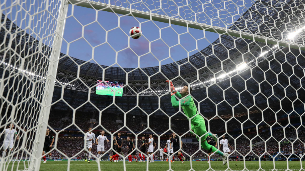 Goal! England 1 – 0 Croatia | Kieran Trippier curled in a beautiful free-kick into the top right corner after Dele Alli was brought down by Luka Modric at the edge of the area. That was England's ninth goal coming from a set piece at the 2018 World Cup. (Image - Reuters)