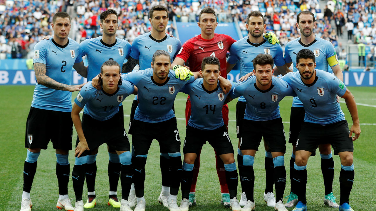 Uruguay starting XI. Edinson Cavani missed the game due to an injury he picked up against Portugal in the last-16. He was replaced by Cristhian Stuani in the starting line-up. (Image – Reuters)