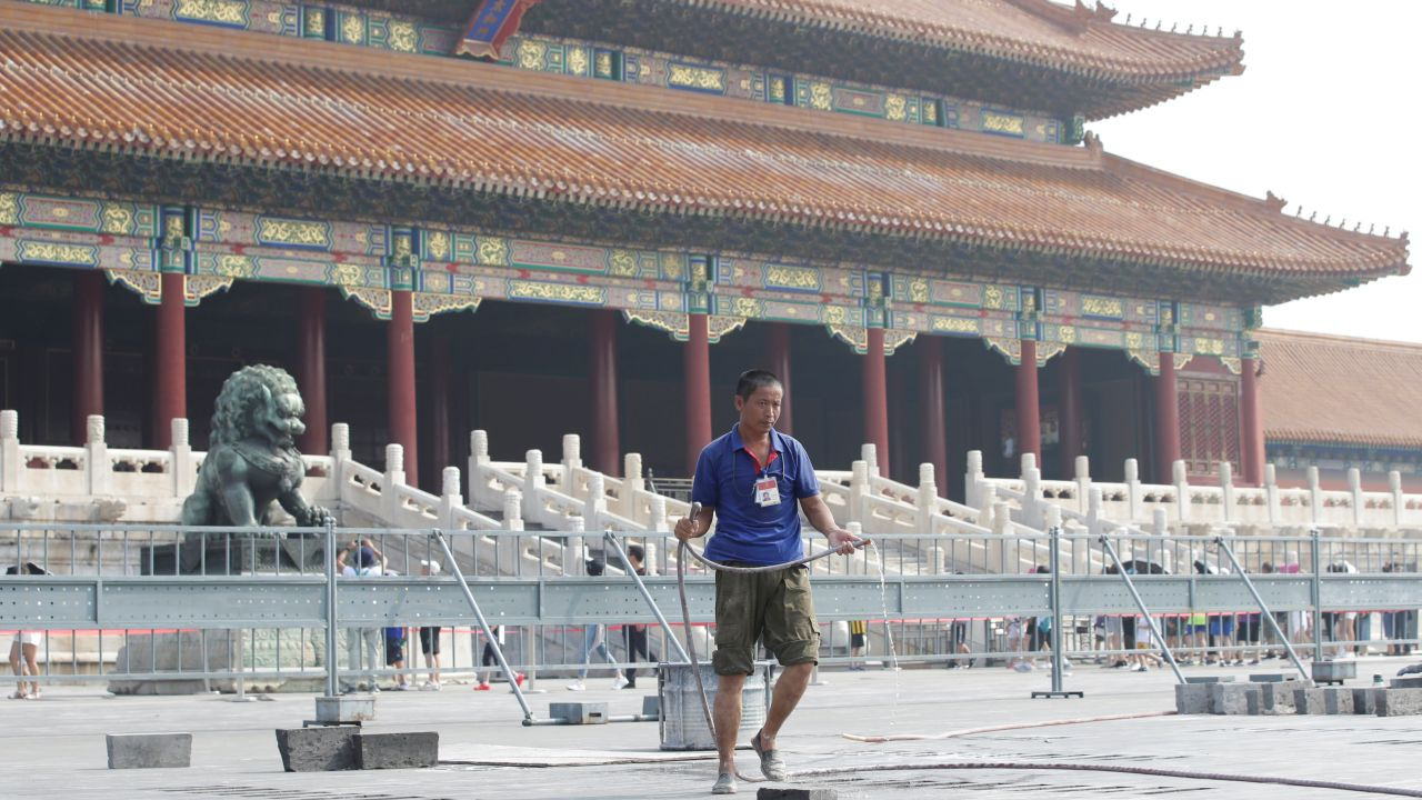 A worker is seen during a major renovation work at the Forbidden City in central Beijing, China. (Image Source: Reuters)