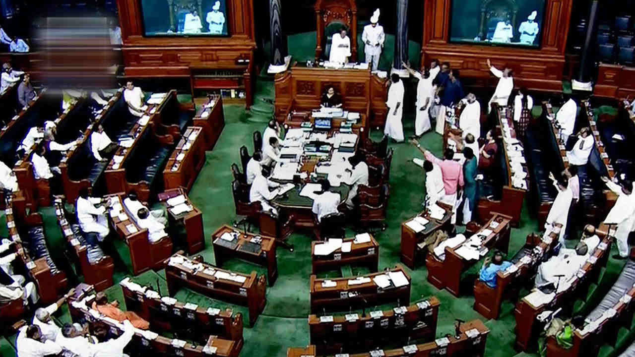 A view of the Lok Sabha assembly on the first day of the Parliament Monsoon session, in New Delhi. (LSTV GRAB via PTI)