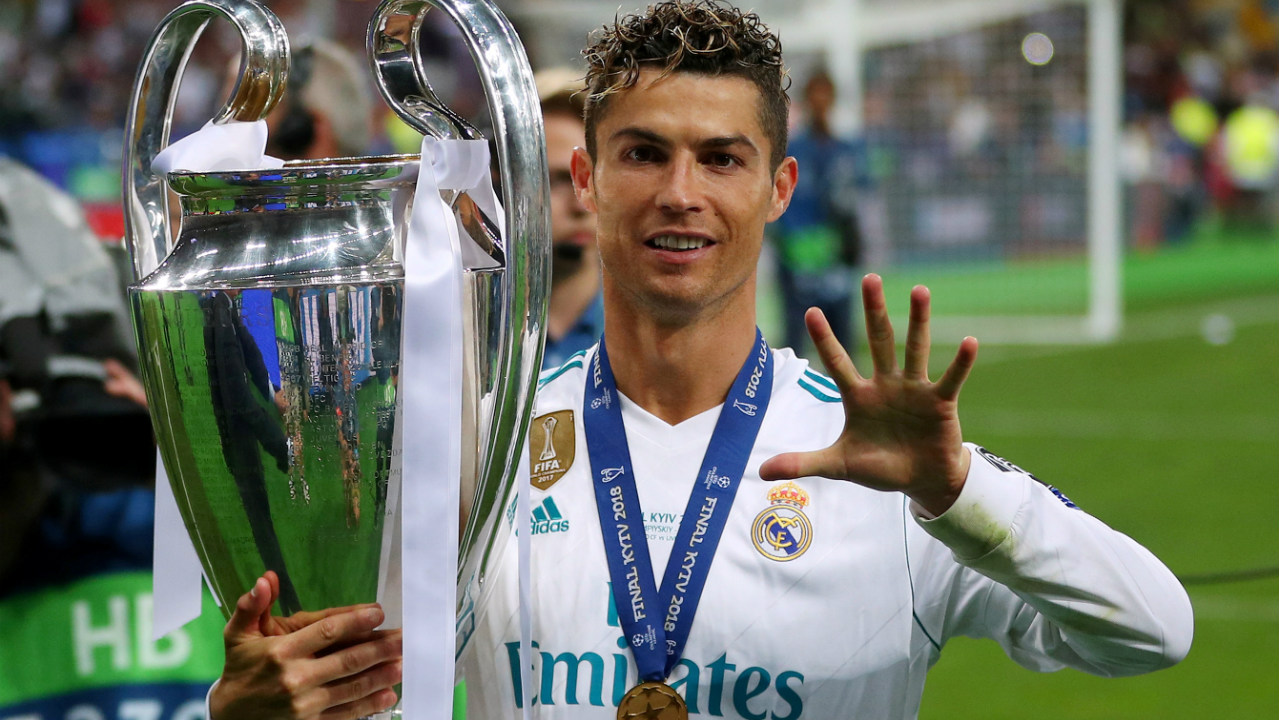 Most UEFA Champions League final wins: 5 | With Real Madrid's 3-1 drubbing of Liverpool in the finals this year, Ronaldo became the first player to win the UEFA Champions League five times. He lifted the trophy once with Manchester United and on four occasions with Real Madrid.