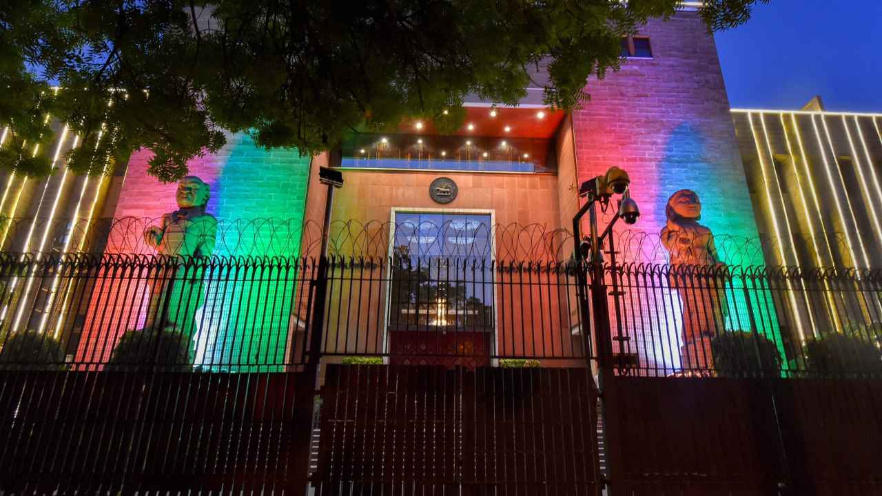 Illuminated building of Reserve bank of India as part of Independence Day celebrations, in New Delhi. (PTI)