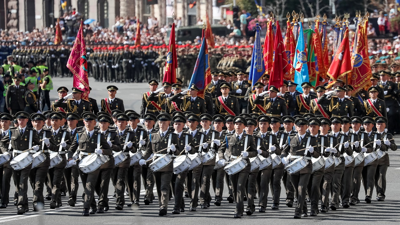 Servicemen march during a military parade marking Ukraine's Independence Day in Kiev, Ukraine August 24, 2018. (Image: Reuters)