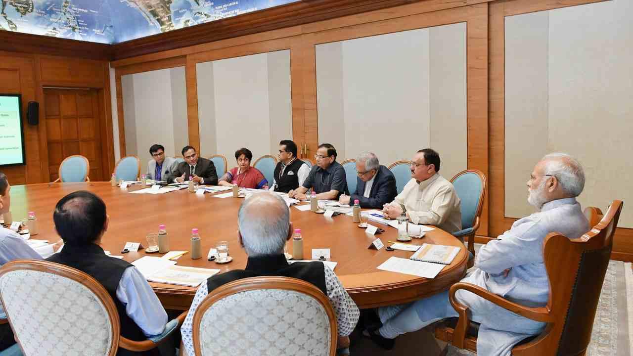 Prime Minister Narendra Modi reviews the preparations for the launch of Health Assurance programme under Ayushman Bharat, in New Delhi. (PTI)