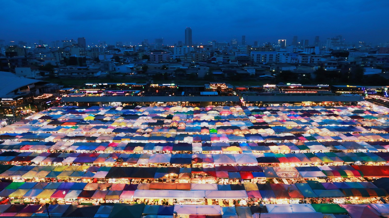 General view of the Train Night Market Ratchada in Bangkok, Thailand (Image: Reuters)