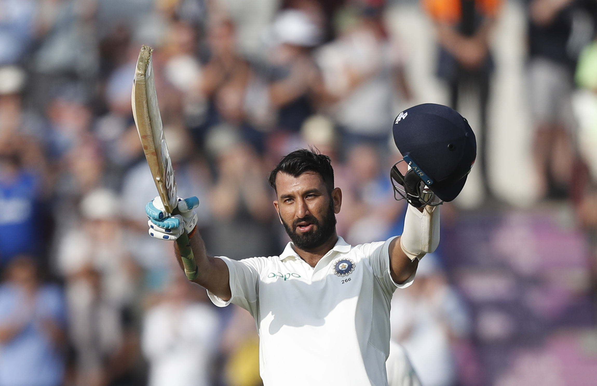 Wickets at the other end did not deter Cheteshwar Pujara as he continued batting with great composure. He soon reached a Hundred, his first of this series and 15th overall in Test cricket. The batsman completed his ton off 210 balls and rescued India of the embarrassment of falling short of England's total. (Image - AP)