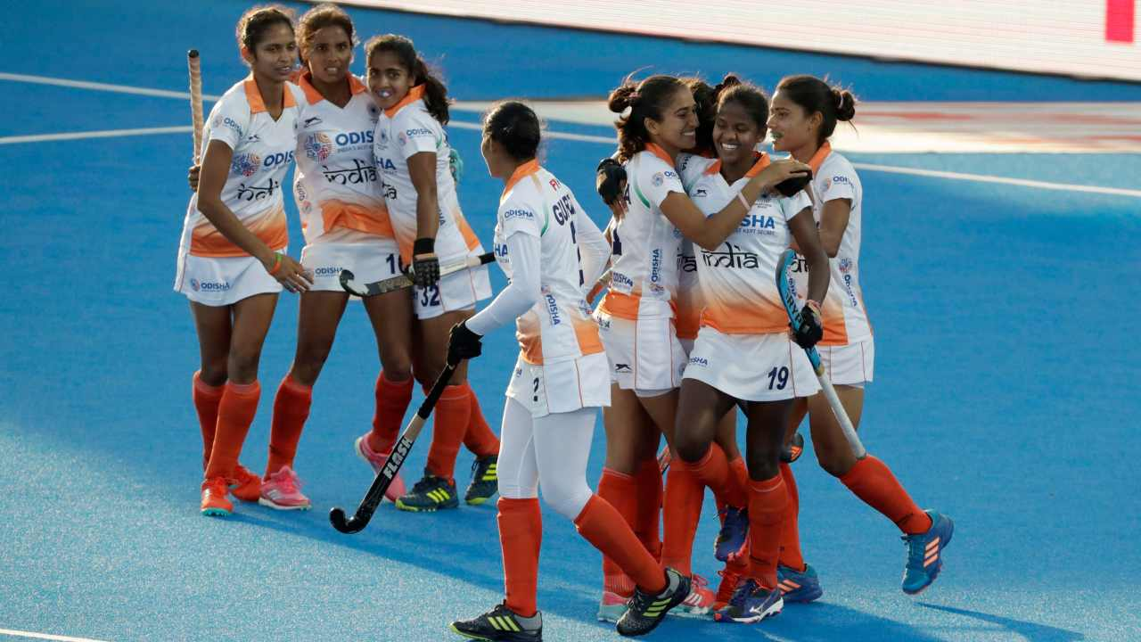 India's Vandana Katariya, top second left, celebrates scoring during the Women's Hockey World Cup cross-over match between Italy and India at the Lee Valley Hockey and Tennis Centre in London. (AP/PTI)