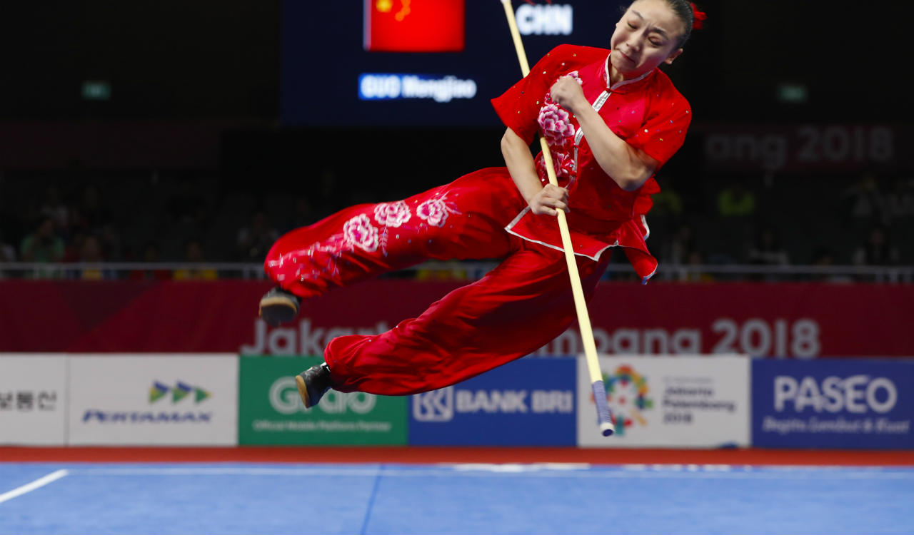 Guo Mengjiao of China competes at Women's Qiangshu event at 2018 Asian Games in Jakarta, Indonesia. (Reuters)