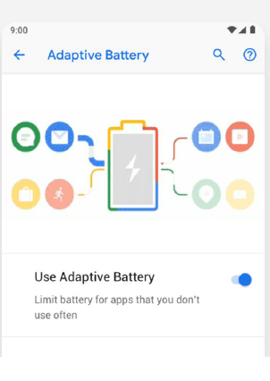 Adaptive Battery - Android analyses the usage pattern and prioritises power to the apps that are used frequently.