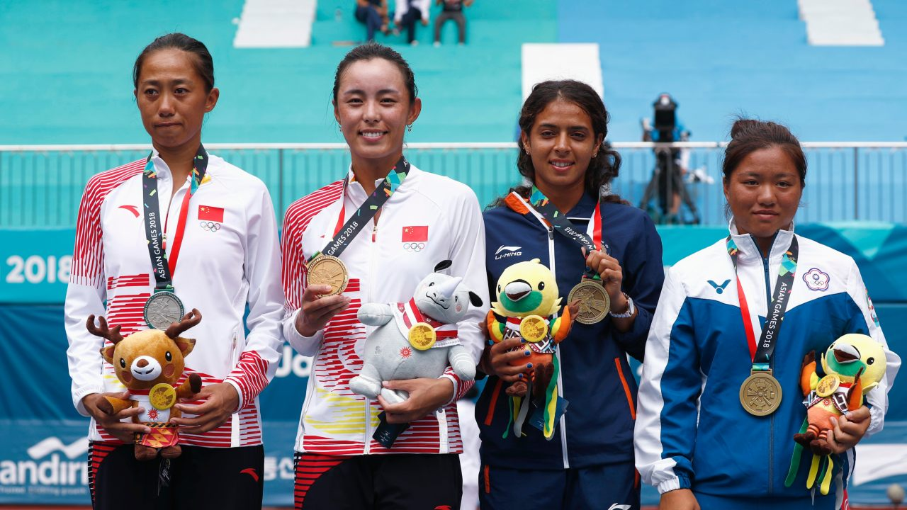 Ankita Ravinderkrishan Raina (Second from the right) | Tennis Women's Singles | Bronze (Image: Reuters)