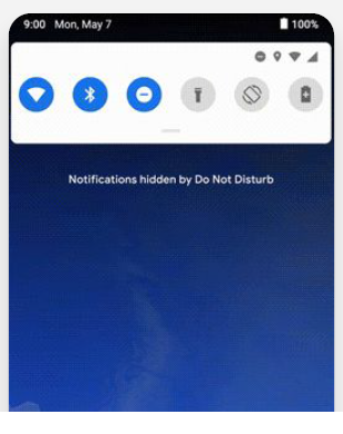 Do Not Disturb - The DND mode now comes with blocking of visual interruptions on screens like notifications along with the silencing of calls and texts.